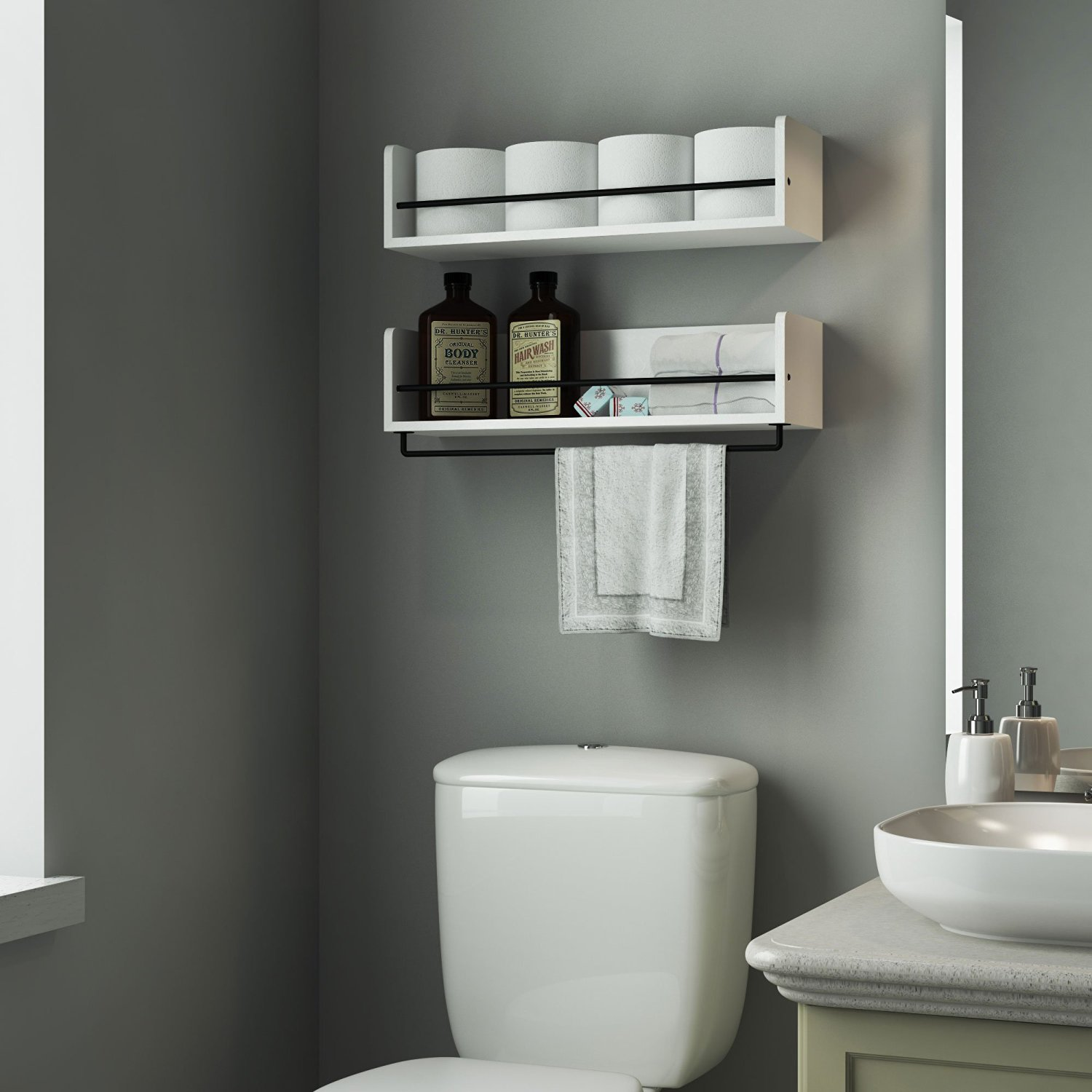 Beautiful White Shelves In The Bathroom Over Toilet Looks Stunning With That Paint Color
