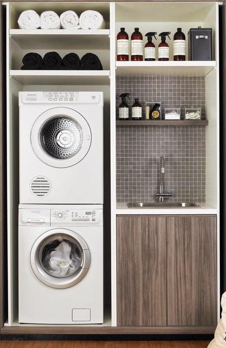 tiny laundry room ideas - space saving diy creative ideas for small Laundry Area Ideas