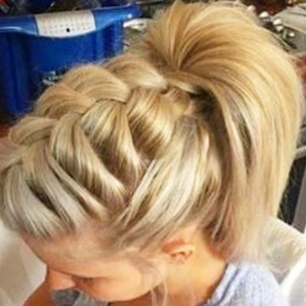 High poofy ponytail hairstyles with french braids