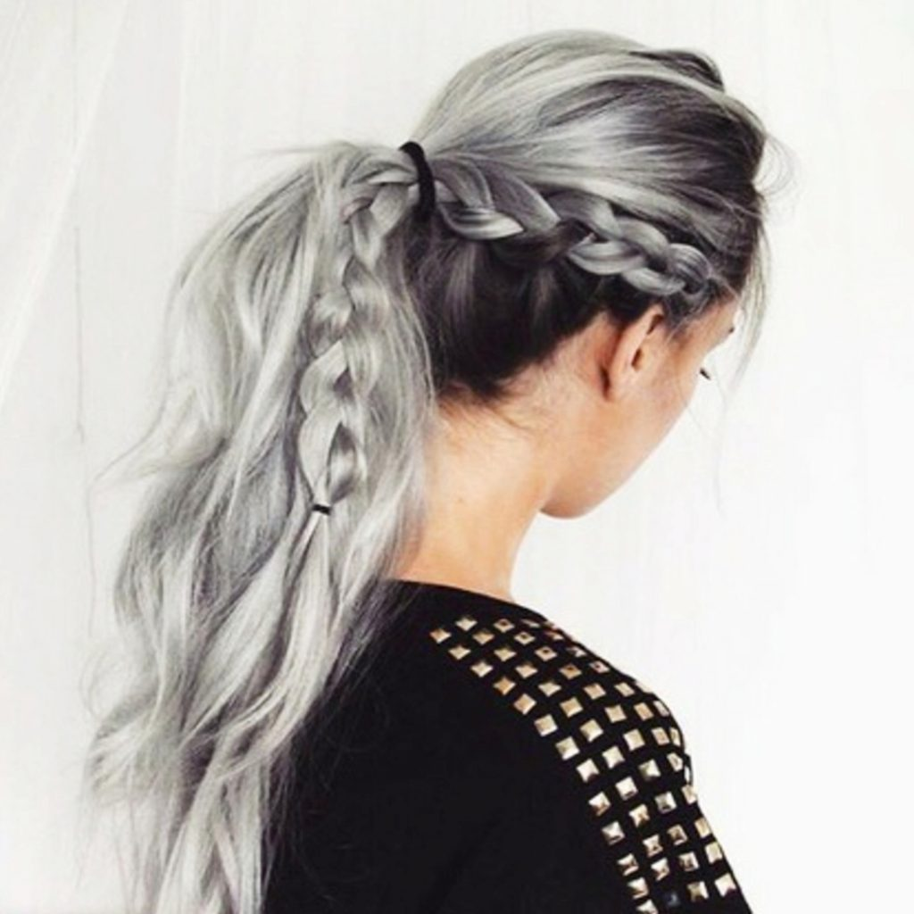 Braided ponytail hairstyles - LOVE this hair color too!