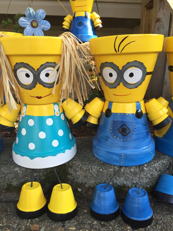 Minion Terra Cotta Pots DIY Instructions and Ideas - CUTE!