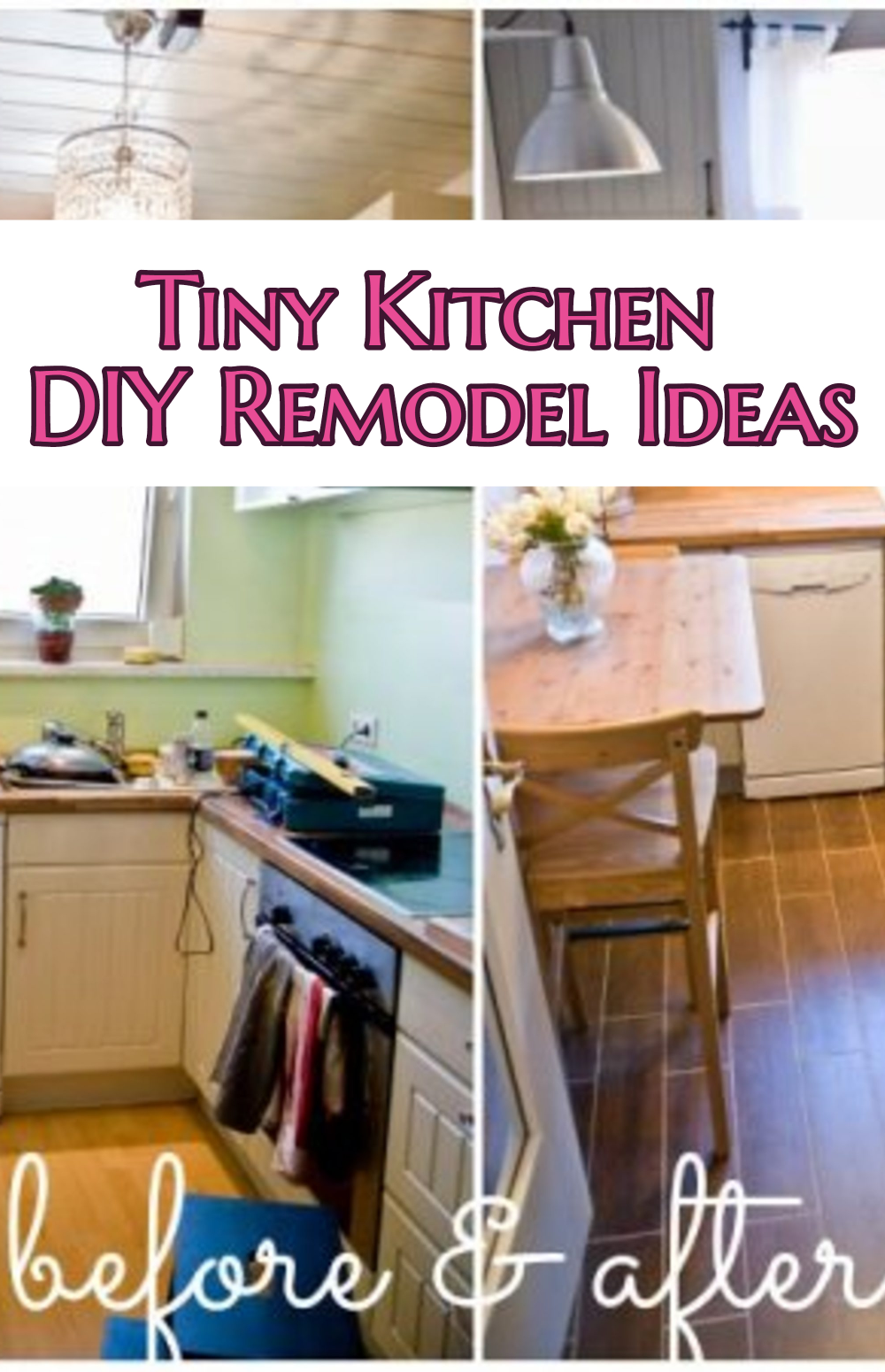 Small Kitchen Ideas: DIY Tiny Kitchen Remodel results before and after. Great ideas for a kitchen makeover on a budget!