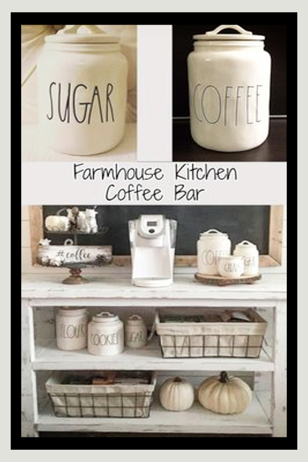 Farmhouse Kitchen Coffee Bar Ideas and Kitchen Canister Sets
