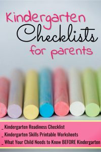 Kindergarten Readiness Checklists for parents - Free kindergarten readiness checklists for parents - kindergarten worksheets, printable checklists, activities and more
