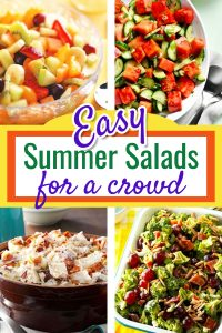 Summer Salads for a CROWD! Easy Make Ahead Salads for a Crowd or large group including Green Salads, Tossed Salads, Fruit Salads, Pasta Salads, Vegetable Salads and Potato Salad Recipes for a large group, potluck, or any large crowd. Easy salads for parties, cookouts, or a barbeque (BBQ). These easy summer salad recipes are perfect Summer Party side dishes! Great budget recipes too!