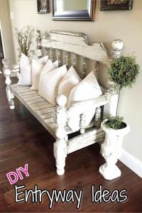 Beautiful entryway bench and small entryway decor ideas - would looks great in a small foyer or apartment entryway.