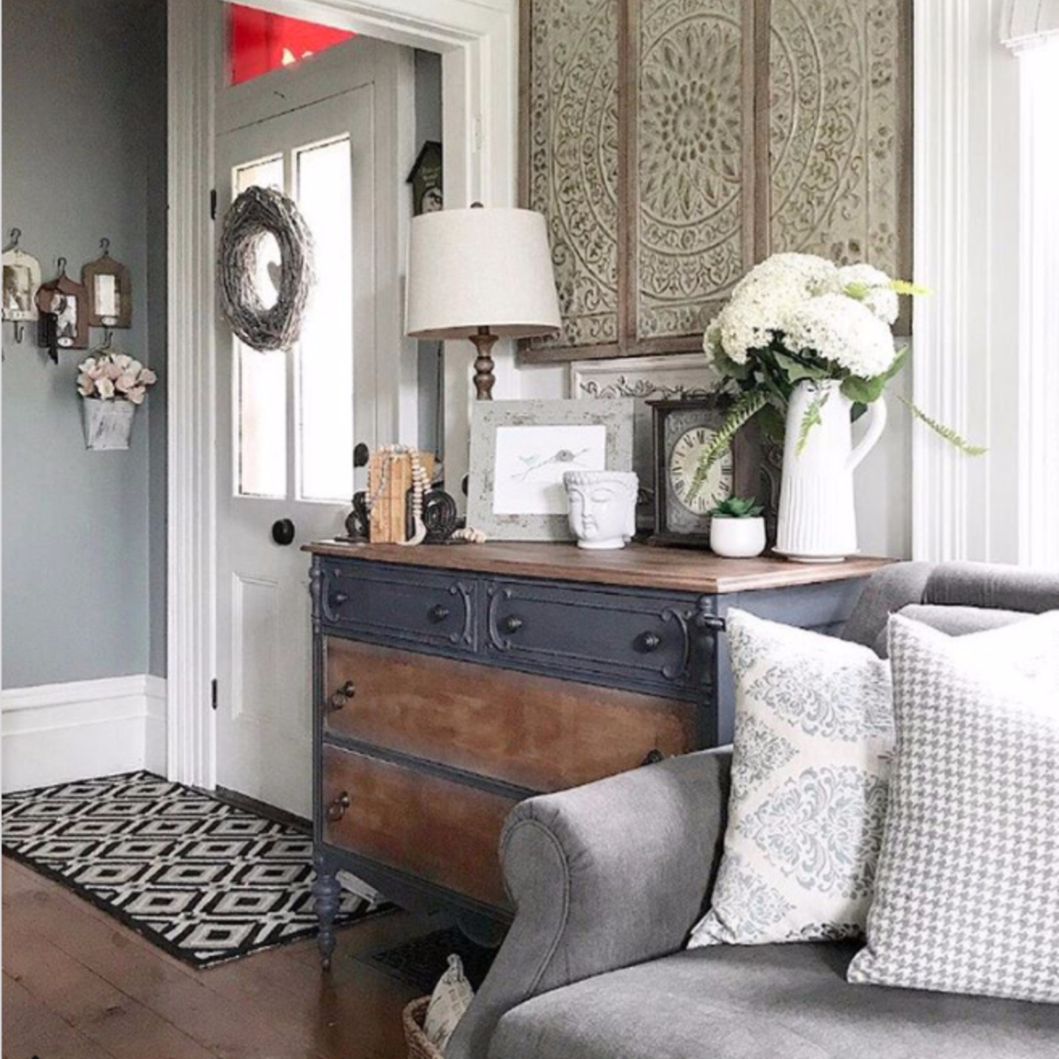 {Farmhouse Living Rooms} • Modern Farmhouse Living Room ... on Curtains For Farmhouse Living Room  id=35538