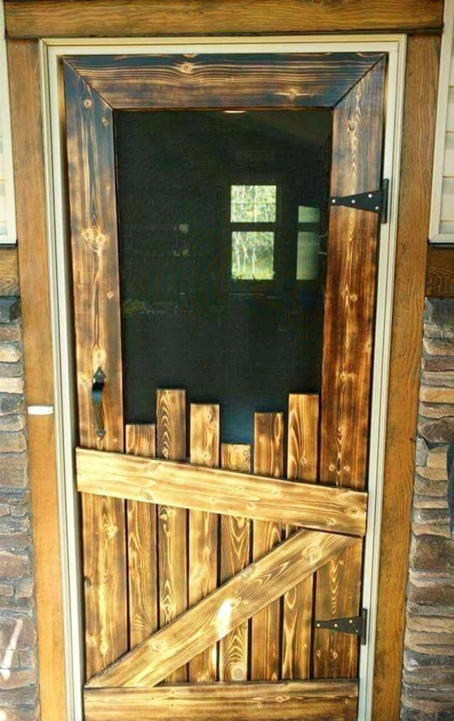 DIY pallet screen door. Love this idea of making a screen door out of old pallet wood - and I just LOVE that stain color - pretty and rustic look to it. I've even seen people make these kinds of DIY screen doors from reclaimed wood to use a pantry door - smart!