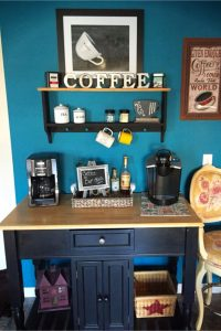 Love the blue wall behind this coffee bar!
