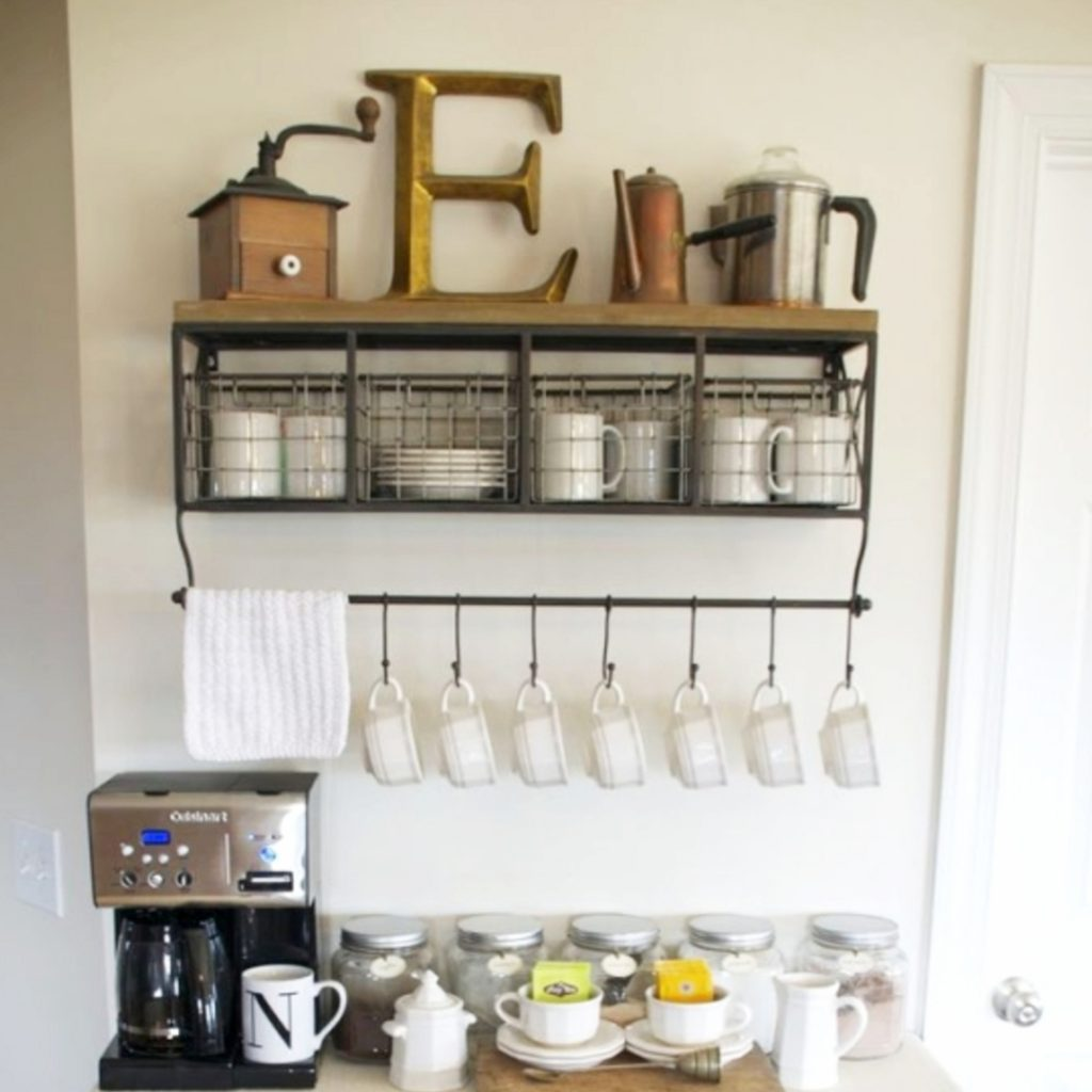 Home Coffee Bars and Coffee Stations Ideas • Coffee Bar Mug Rack • Coffee Bar Shelf With Hooks • Coffee Bar Ideas • Home Coffee Station Ideas • Coffee Station Kitchen DIY Ideas • Kitchen Coffee Bars • Coffee Corner - Coffee Nook Ideas • Home Coffee Bar Wall Shelf and Accessories