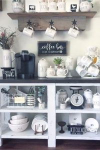 Coffee Bar Ideas and Kitchen Coffee Station Ideas - Our favorite kitchen decorating ideas for a farmhouse kitchen are these coffee bar ideas for setting up a coffee station or coffee nook on your countertop or a coffee cart beverage station. Easy DIY coffee bars in kitchen pictures and ideas. Make a cheap and easy accent area even in small kitchens.