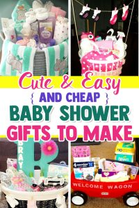(cheap baby shower gifts gift ideas) Cheap Baby Shower Gift Baskets - what to put in a baby shower gift basket and things to put in baby shower gift basket - Learn how to make a baby shower gift basket at home and how to put together a baby shower gift basket - inexpensive and unique baby shower basket ideas and baby shower basket ideas for a boy on a budget. See LOTS more cheap baby shower gifts gift ideas