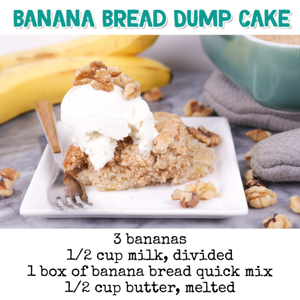 Dump Cake Recipes - Banana Bread Dump Cake Recipe #dumpcakerecipes #easydesserts #easyrecipes #dessertrecipes