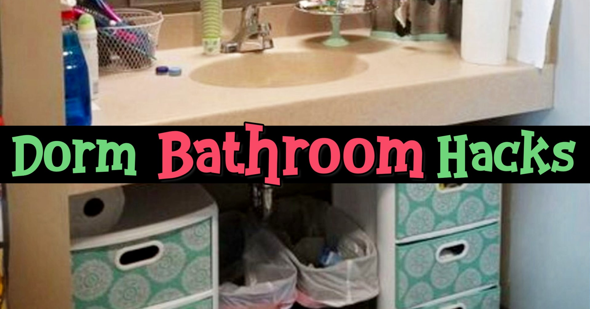 Small bathroom ideas - dorm bathroom storage and organization ideas for college community bathrooms, shared bathrooms, suitemate bathrooms with roommates and more dorm bathroom hacks and organizing ideas