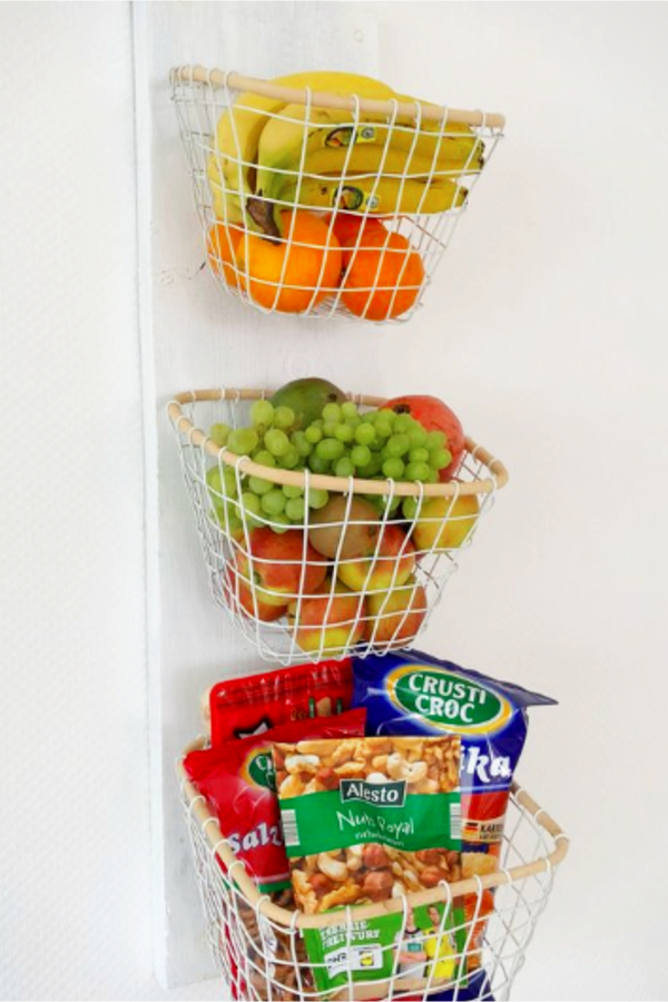 wall mounted fruit storage baskets ideas and PICTURES - 20 DIY ideas to make a wall mounted 3 tier fruit basket for your kitchen wall
