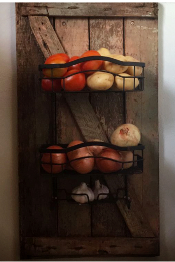 wall mounted fruit baskets for kitchens