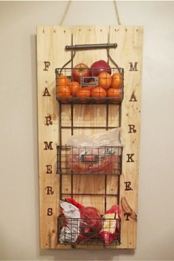 3 tier wall mounted fruit basket ideas and DIY tutorial - 20 ways to make a hanging fruit basket for your kitchen wall.