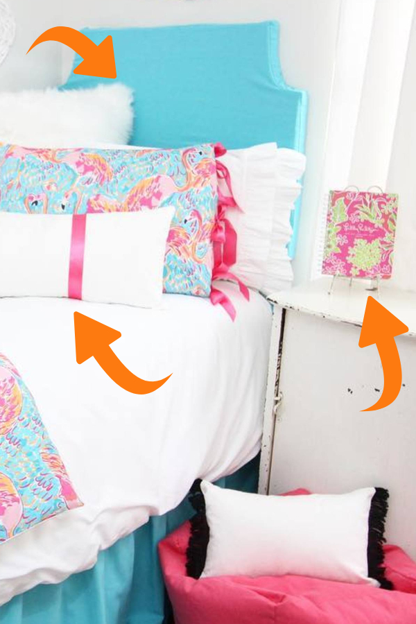 Wrap an old sheet, shirt or towel around your headboard for a fresh look - wrap pillws with ribbon - how to decorate your room without buying anything