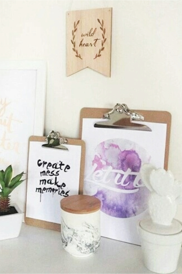 Use clipboards for DIY room decor - how to decorate your room without buying anything