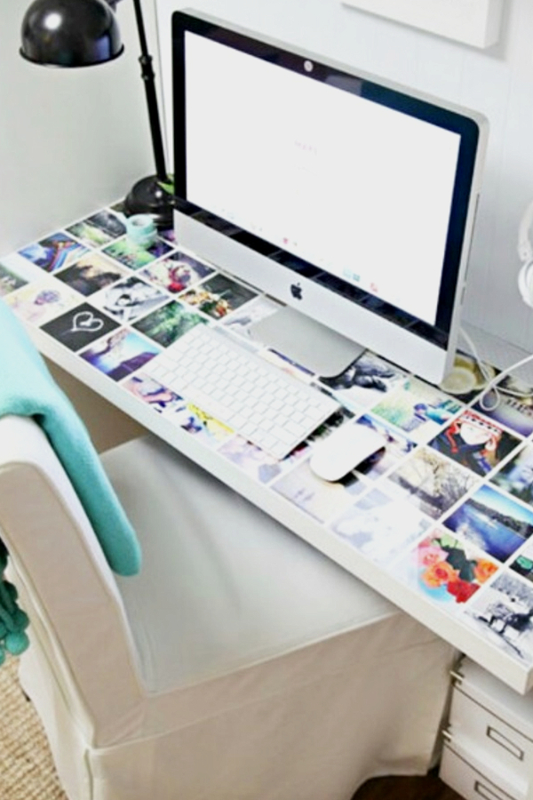 Decorate your desk with pictures of friends and family - how to decorate your room without buying anything