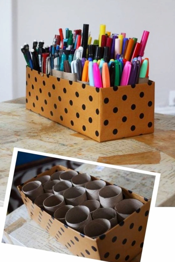 Save old toilet paper rools to make a DIY organizer for the desk in your room - how to decorate your room without buying anything