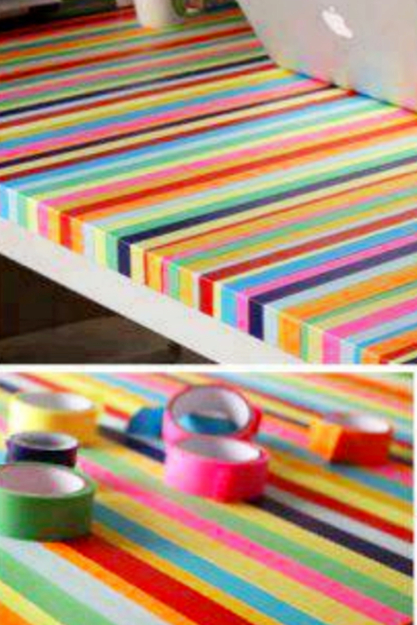 Decorate your desk in your room with washi tape, duct tape or colored electrical tape - how to decorate your room without buying anything