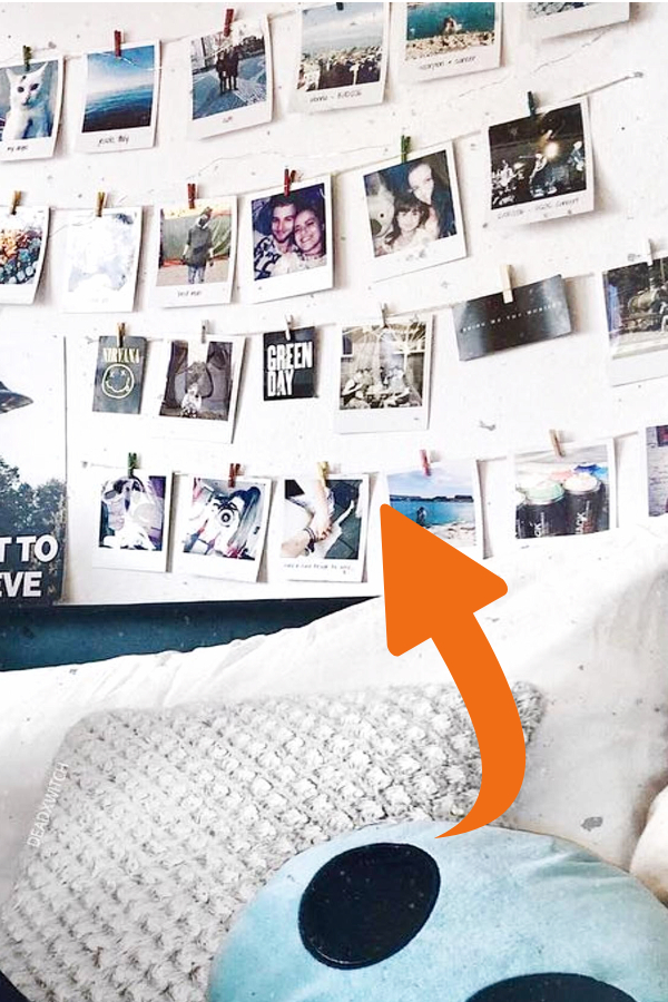 Hang pictures of friends and family on your wall - how to decorate your room without buying anything