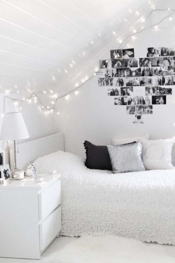 Hang pictures in the shape of a heart on your wall - string up some fairy lights - how to decorate your room without buying anything