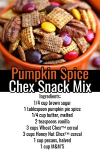 Pumpkin Spice Chex Mix Recipe - This Chex snack mix with pumpkin spice is one of my family's favorites (it must be the M&M's in the Chex Mix because I can't make it fast enough haha!)