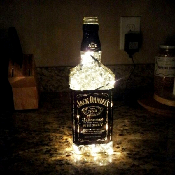 Jack Daniels Bottle Crafts - DIY glowing Jack Daniels lamp with string lights (fairy lights)
