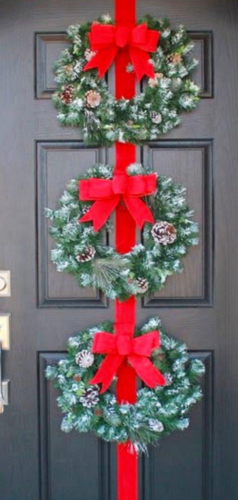 Triple Wreath for Christmas front door