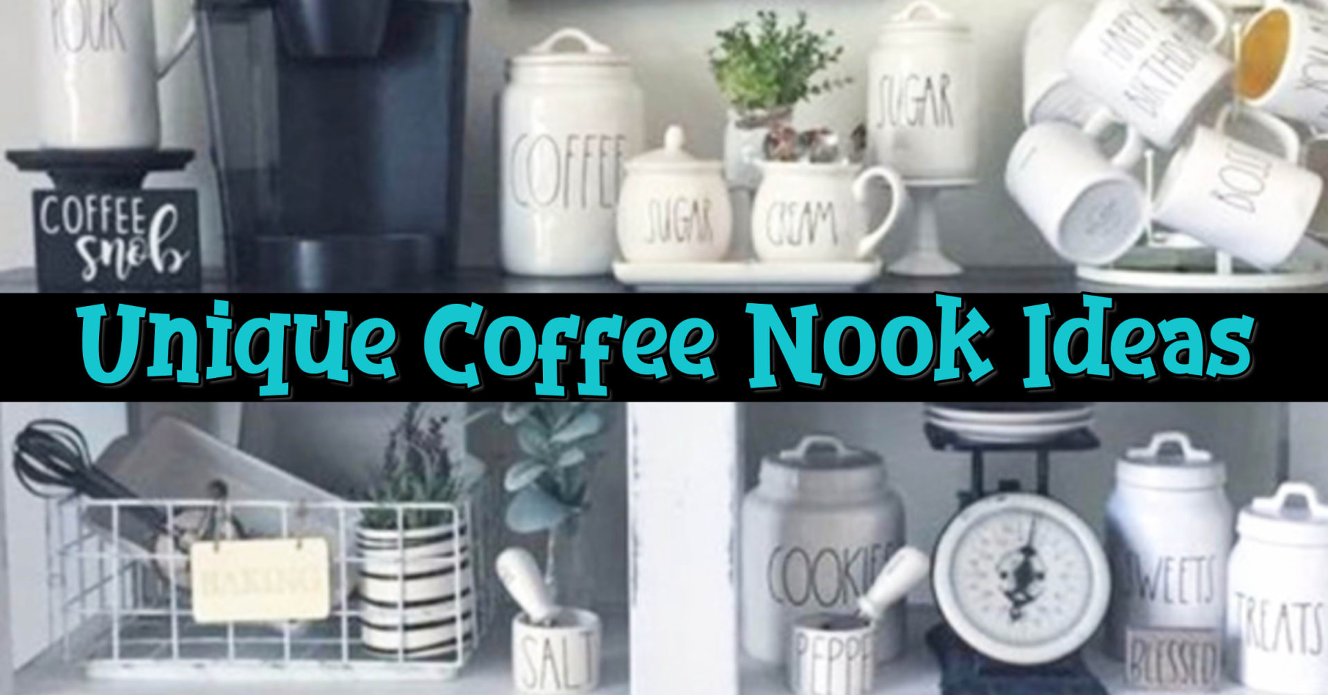 Coffee Nook Ideas We LOVE • These coffee nook ideas for small spaces in your kitchen are so cute - they're like a cozy corner in your kitchen! I'm a big fan of farmhouse kitchen decor - more of a modern rustic type kitchen decor - so these kitchen coffee nooks are PERFECT for my house!