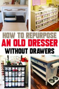 How to repurpose a dresser without drawers - Repurposed Old Dresser Ideas – How about some clever old dresser makeover ideas? Clever and CHEAP things to make from an old dresser without drawers or missing drawers – these ideas are SO creative!