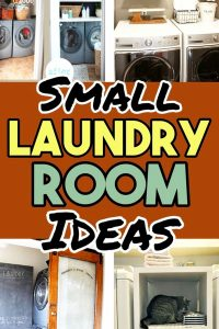 Small Laundry Room Ideas (on a BUDGET) - Laundry room organization and small laundry room ideas. These laundry room makeover pictures are amazing before and after laundry area makeovers. Use floating shelves and over laundry room shelving to make more space in a tiny laundry room closet, laundry area, utility closet or laundry nook. DIY laundry room storage ideas and small laundry room ideas for getting organized at home on a budget.