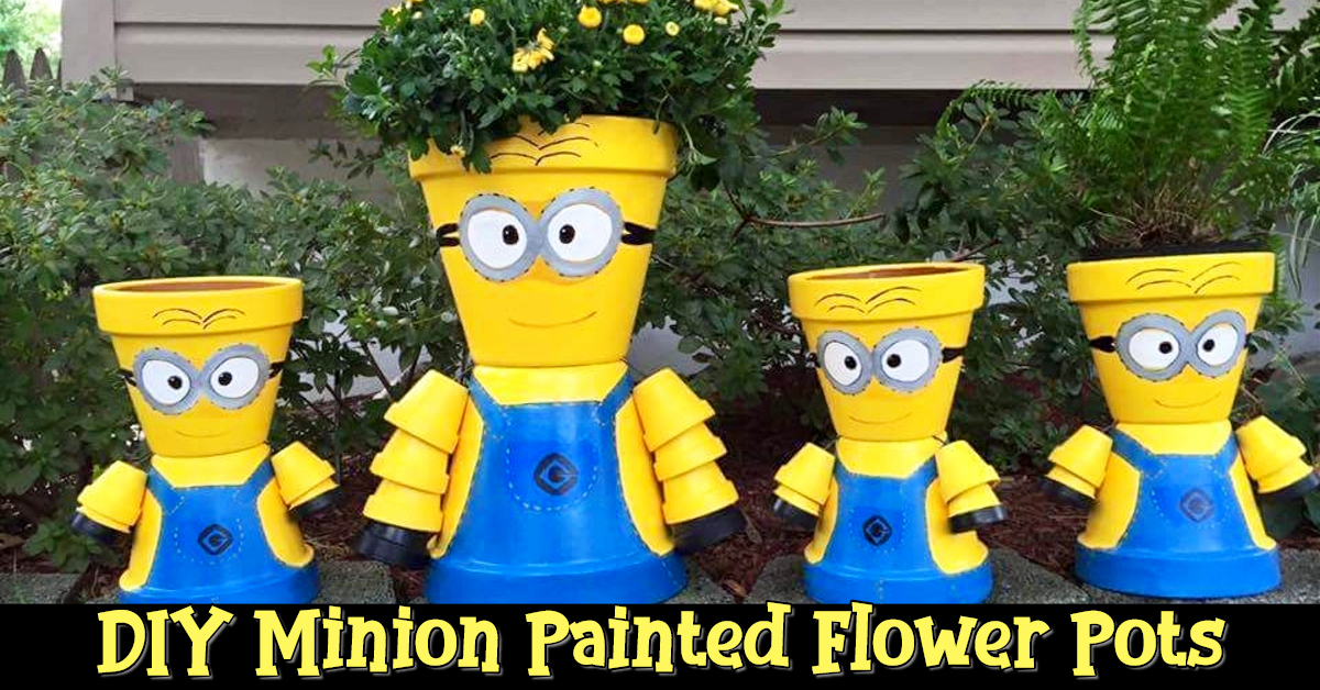 Painted flower pot crafts for kids, for the garden, or as handmade gifts for garn lovers - easy DIY minion painted flower pots and painted terra cotta pots